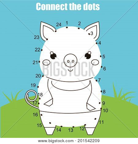 Connect the dots children educational drawing game. Dot to dot by numbers for kids. Animals theme. Printable worksheet activity with cute pig
