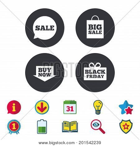 Sale speech bubble icons. Buy now arrow symbols. Black friday gift box signs. Big sale shopping bag. Calendar, Information and Download signs. Stars, Award and Book icons. Vector