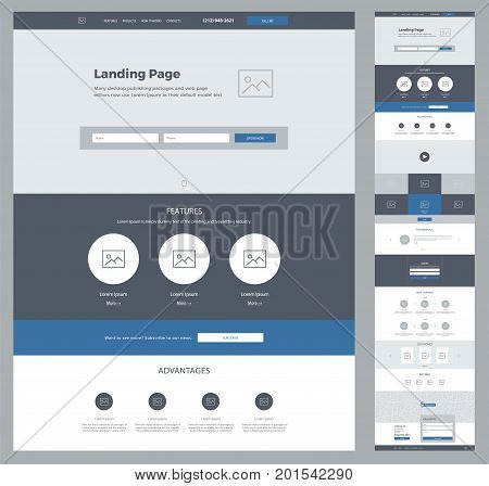 One page design template for business. Landing page wireframe. Ux ui: about, advantages, video, subscribe, features, testimonials, order, gallery, works, certificates, partners, contacts, email, form.