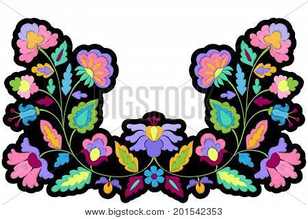 Abstract fantasy embroidery symmetric patch. Needlework textile applique isolated on white background.