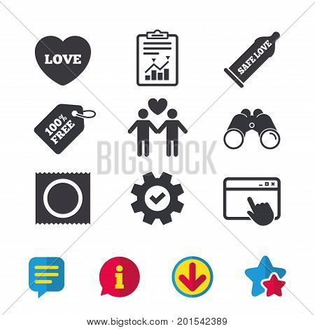 Condom safe sex icons. Lovers Gay couple signs. Male love male. Heart symbol. Browser window, Report and Service signs. Binoculars, Information and Download icons. Stars and Chat. Vector