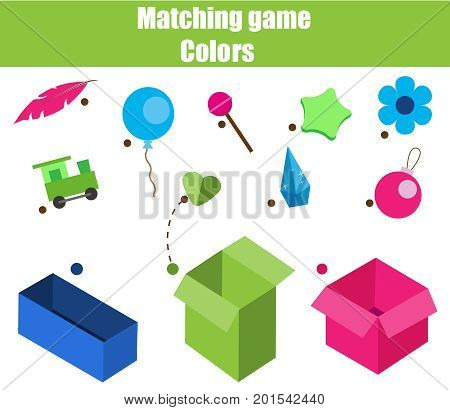 Educational children game. Matching game worksheet for kids. Match by color. Sorting objects for toddlers.