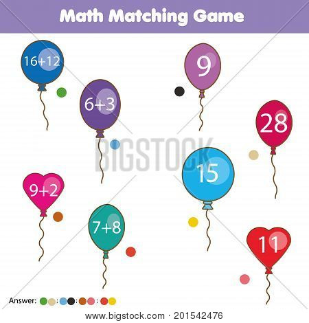 Math educational game for children. Matching mathematics activity. Counting game for kids with answer