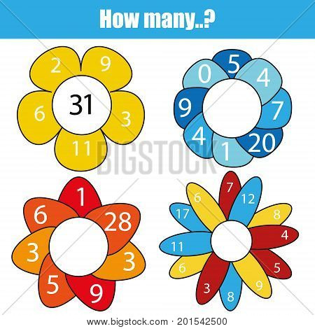 Counting educational children game, kids activity worksheet. How many objects task. Mathematics addition