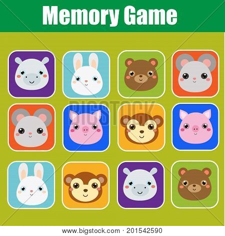 Memory game for toddlers. Educational children, kids activity with cute animals faces. Find pairs of same images