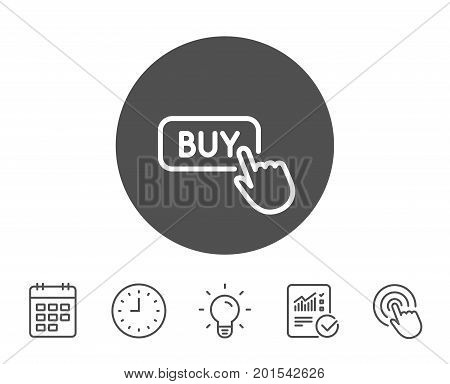 Click to Buy line icon. Online Shopping sign. E-commerce processing symbol. Report, Clock and Calendar line signs. Light bulb and Click icons. Editable stroke. Vector