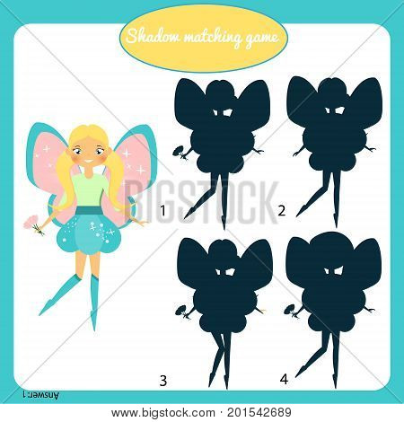 Shadow matching game for children. Find the right shadow. Activity for preschool kids and toddlers with beautiful fairy character