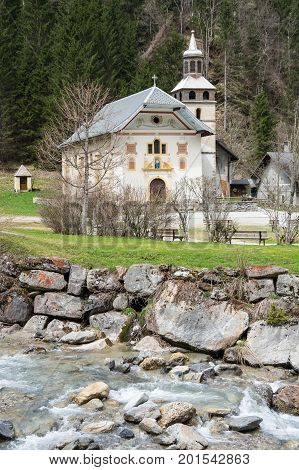 The Chapel Notre-Dame-De-La-Gorge is situated on the territory of the village of Contamines-Montjoie (Haute Savoie) in the bottom of the Valley Montjoie in 1210 metres altitude France