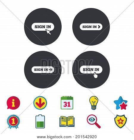 Sign in icons. Login with arrow, hand pointer symbols. Website or App navigation signs. Calendar, Information and Download signs. Stars, Award and Book icons. Light bulb, Shield and Search. Vector