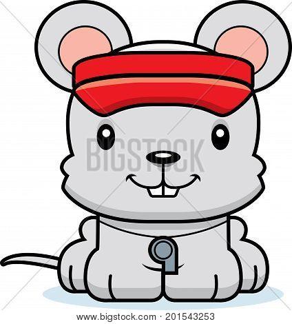 Cartoon Smiling Lifeguard Mouse