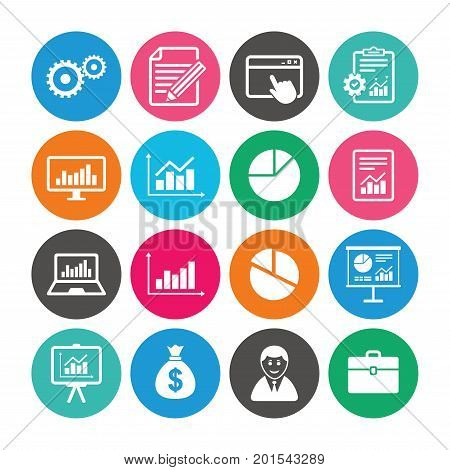 Set of Statistics, Accounting and Report icons. Charts, Presentation and Pie-chart signs. Analysis, Money bag and Business case symbols. Colored circle buttons with flat signs. Vector