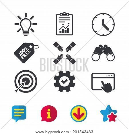 Lamp idea and clock time icons. Target aim sign. Darts board with arrow. Teamwork symbol. Browser window, Report and Service signs. Binoculars, Information and Download icons. Stars and Chat. Vector