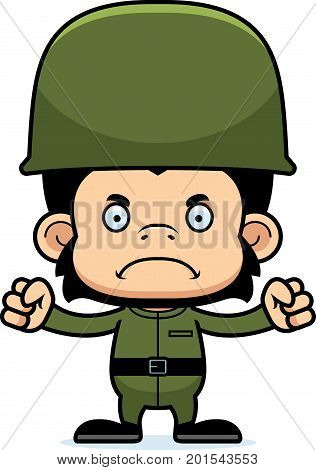 Cartoon Angry Soldier Chimpanzee