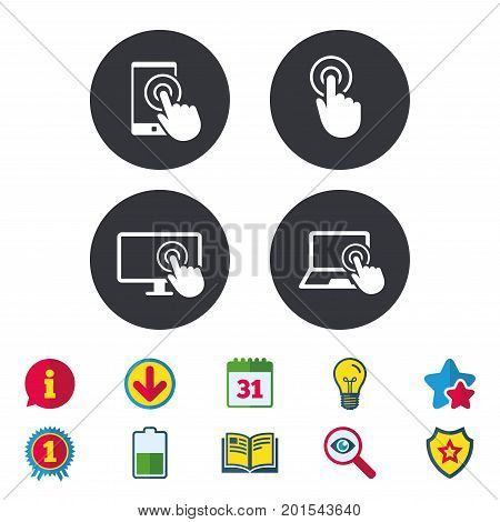 Touch screen smartphone icons. Hand pointer symbols. Notebook or Laptop pc sign. Calendar, Information and Download signs. Stars, Award and Book icons. Light bulb, Shield and Search. Vector