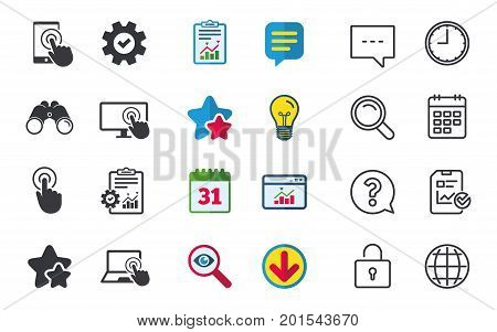 Touch screen smartphone icons. Hand pointer symbols. Notebook or Laptop pc sign. Chat, Report and Calendar signs. Stars, Statistics and Download icons. Question, Clock and Globe. Vector