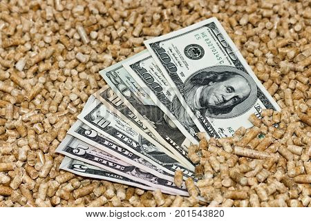 Wood pellets and money dollars. The concept of savings when using Biofuels from wood chips .The cat litter.