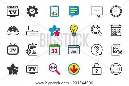 Smart TV mode icon. Widescreen symbol. Retro television and TV table signs. Chat, Report and Calendar signs. Stars, Statistics and Download icons. Question, Clock and Globe. Vector