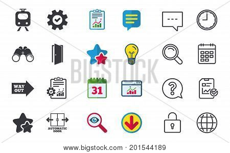Train railway icon. Automatic door symbol. Way out arrow sign. Chat, Report and Calendar signs. Stars, Statistics and Download icons. Question, Clock and Globe. Vector