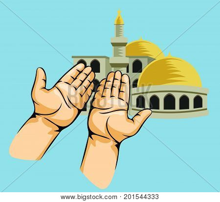 Vector illustration of praying hands in front of mosque