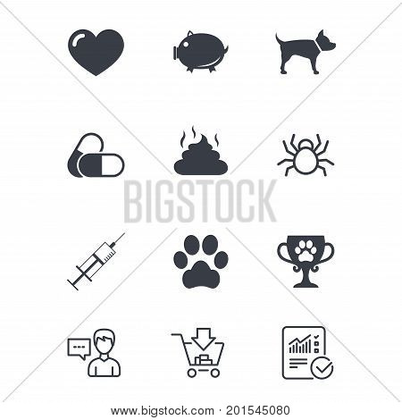 Veterinary, pets icons. Dog paw, syringe and winner cup signs. Pills, heart and feces symbols. Customer service, Shopping cart and Report line signs. Online shopping and Statistics. Vector