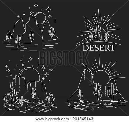 Set of four different desert landscape. Dayly and nightly desert in white line on black background. Vector illustration
