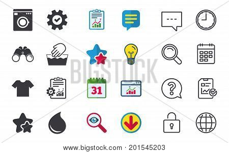 Wash machine icon. Hand wash. T-shirt clothes symbol. Laundry washhouse and water drop signs. Not machine washable. Chat, Report and Calendar signs. Stars, Statistics and Download icons. Vector