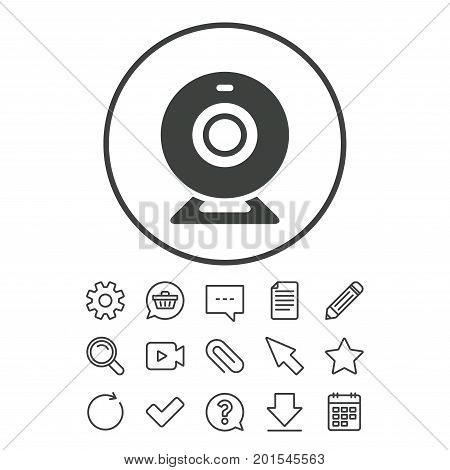 Webcam sign icon. Web video chat symbol. Camera chat. Document, Chat and Paper clip line signs. Question, Pencil and Calendar line icons. Star, Download and Shopping cart. Vector
