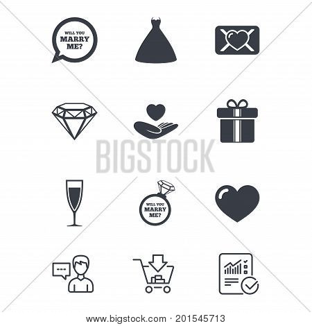 Wedding, engagement icons. Love oath letter, gift box and brilliant signs. Dress, heart and champagne glass symbols. Customer service, Shopping cart and Report line signs. Vector
