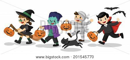 Set of Happy Halloween. Funny children in colorful costumes and a cat. zombie mummy witch Dracula.