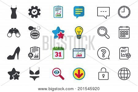 Women dress icon. Sexy shoe sign. Perfume glamour fragrance symbol. Intimates underwear. Chat, Report and Calendar signs. Stars, Statistics and Download icons. Question, Clock and Globe. Vector