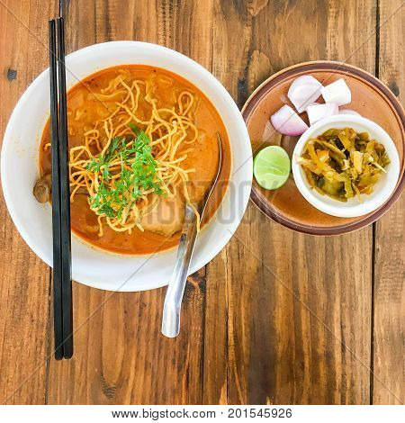 Thai curry with A noodle dish in a yellow curry with chicken (Taken with Smartphone)