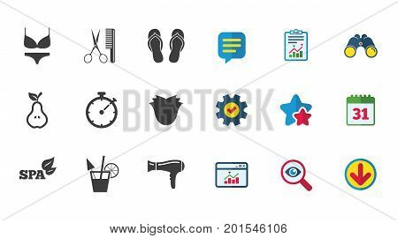 Hairdresser, spa icons. Diet cocktail sign. Lingerie, scissors and hairdryer symbols. Calendar, Report and Download signs. Stars, Service and Search icons. Statistics, Binoculars and Chat. Vector