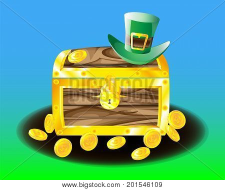 Chest with leprechaun coins scattered around coins and a green hat