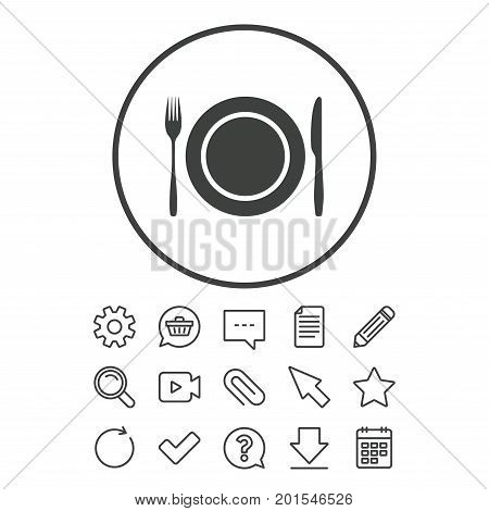 Plate dish with fork and knife. Eat sign icon. Cutlery etiquette rules symbol. Document, Chat and Paper clip line signs. Question, Pencil and Calendar line icons. Star, Download and Shopping cart