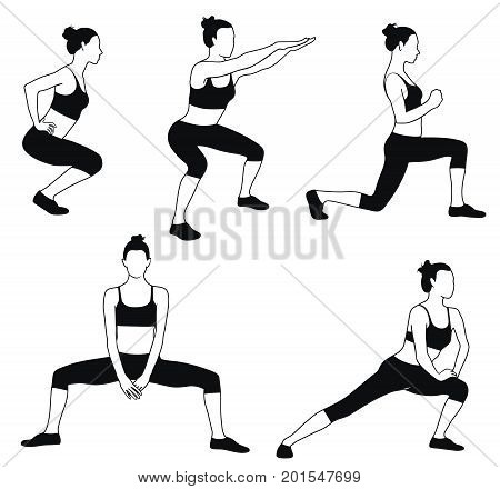 Silhouette of woman in sport dress doing fitness exercises for muscles of legs. Workout in proses.