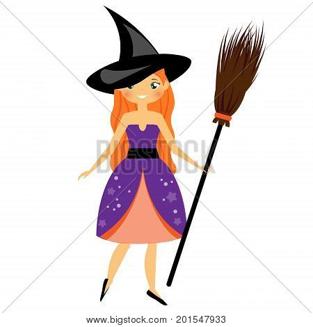 Cute Halloween witch. Beautiful girl in Halloween Costume dress holding broom. Vector illustration