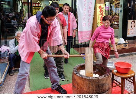 KUWANA JAPAN - NOVEMBER 15 2015: Traditional japanese mochi maker