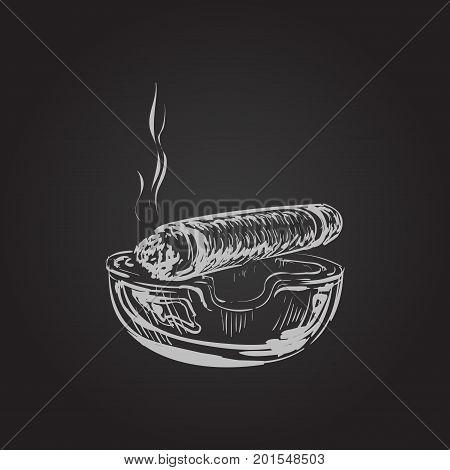 Smoking Cigar With Ashtray Smoking Cigar With Ashtray