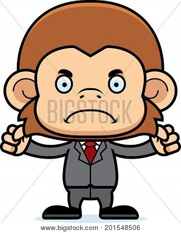 Cartoon Angry Businessperson Monkey