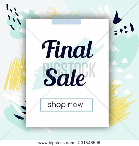Sale banner with fashionable hand drawn style background. Cold colors. Advertisement design template. For social media stores and shops