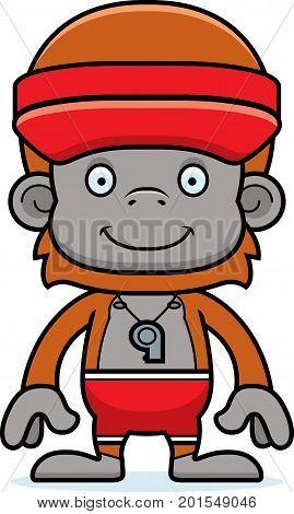 Cartoon Smiling Lifeguard Orangutan