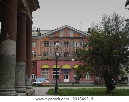 Kazakhstan, Ust-Kamenogorsk - 01, August 2017. Office of Kazpost on Gogol street. Architecture. Architectural background. Antique architecture.