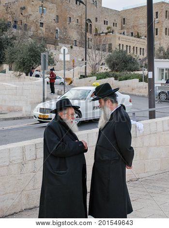 JERUSALEM ISRAEL - MARCH 19 2009: Orthodox jewish men's near the Western Wall. Jerusalem. Israel