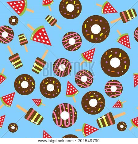 Ice cream and donut seamless pattern. Eps10
