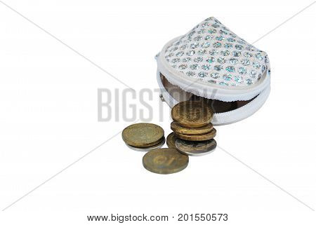Yellow coins, lost out of white with sequins of a purse, isolated