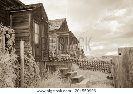 Wooden Homes In Bodie, California In B&w