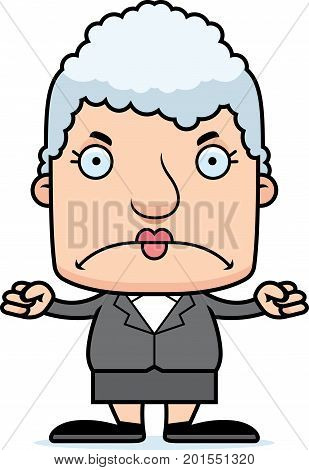 Cartoon Angry Businessperson Woman