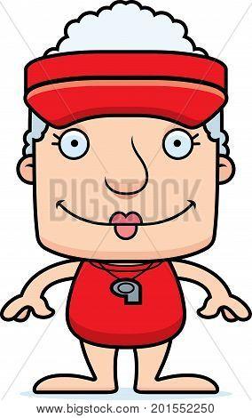 Cartoon Smiling Lifeguard Woman