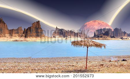 Collage. Sandy shore on the shore of a pond on an alien planet