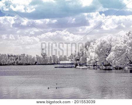 Moscow. The shore of the White Lake. Infrared photography